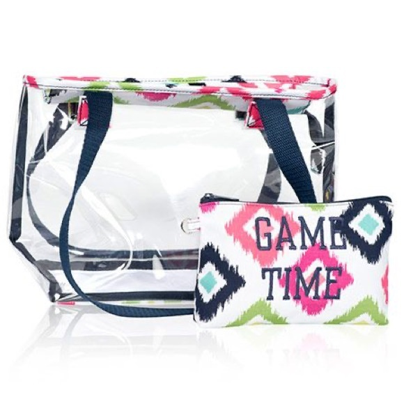 NIP New Thirty One 31 Zipper Pouch Navy Doodle Dot Navy Blue and White